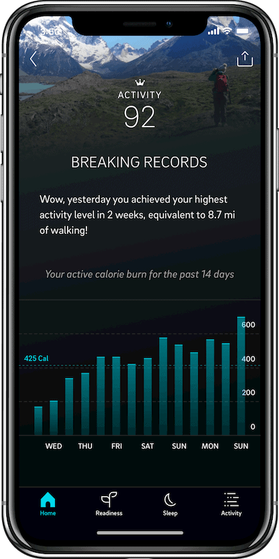 Oura Ring Activity Score Page on the phone - Oura Smart Ring Review