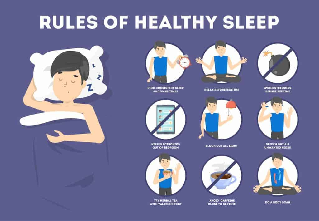 Rules of healthy sleep infographic