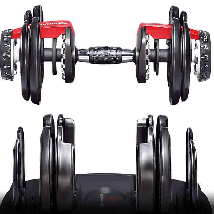 Bowflex Weight pulled from the cradle to start lifting - Bowflex SelectTech 552 Dumbbells Review