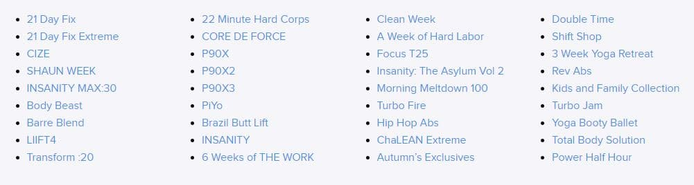Some of the Vast Array of Programs Available on BOD service - What is Beachbody on Demand