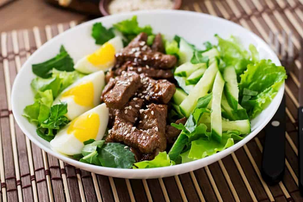 Salad with spicy beef, cucumber and eggs - What Can I Eat on a Ketogenic Diet Plan