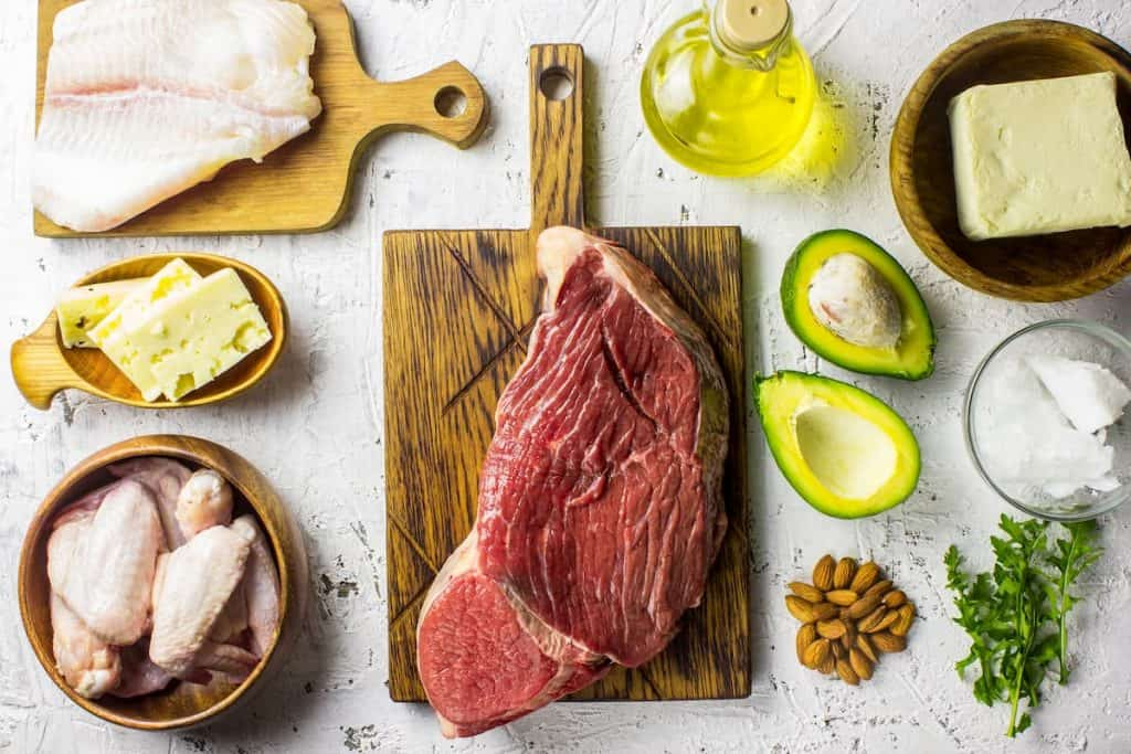 Steak, Chicken, Fish, cheeses, Avocado and some butter and seeds - Mistakes made on keto